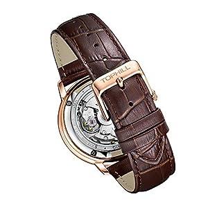 Tophill TW061G Men's Leather Strap Sport Watch Water Proof Watch Leisure Watch Self Wind Automatic Watch