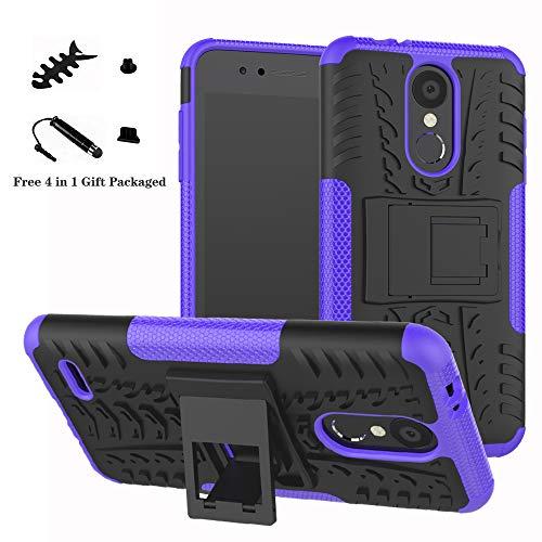 LiuShan LG K8 / K9 2018 Funda, Heavy Duty Silicona Híbrida Rugged Armor Soporte Cáscara de Cubierta Protectora de Doble Capa Caso para LG K8 / K9 2018 Smartphone,Púrpura
