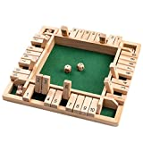 ROPODA Shut The Box Dice Game Wooden (2-4 Players) for Kids & Adults [4 Sided Large Wooden Board Game, 8 Dice...