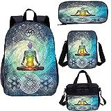Juego de bolsas de almuerzo para la escuela de 38 cm, diseño de chakra Zen para el trabajo, la escuela, los viajes, picnic
