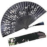 Abanico plegable OMyTea Sakura con diseño chino/japonés retro y con funda protectora de tela