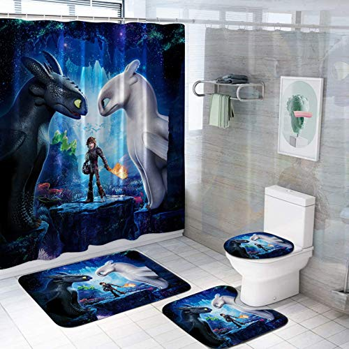 VASHU 4 Piece How to Train Your Dragon Shower Curtain Sets with Non-Slip Rug, Toilet Lid Cover, Bath Mat and 12 Hooks, Durable Waterproof Bath Curtain