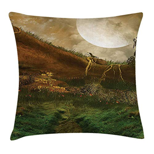 JIMSTRES Nature Throw Pillow Cushion Cover, Exquisite Valley with Giant Full Moon Sky Enchanted Fantasy Scenery, Decorative Square Accent Pillow Case, Peach Fern Green Cinnamon 22x22 inches