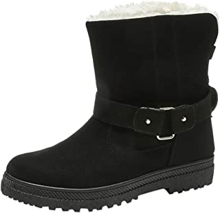 Women Winter Warm Boots, Ladies Solid Round Toe Fashion Buckle Snow Boots Non-slip