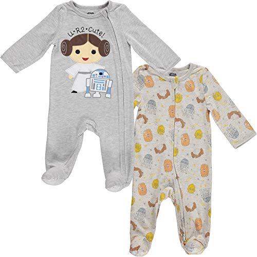 Star Wars Princess Leah and R2-D2 Baby Girls 2 Pack Sleep N' Play Footies 6-9 Months Grey/White