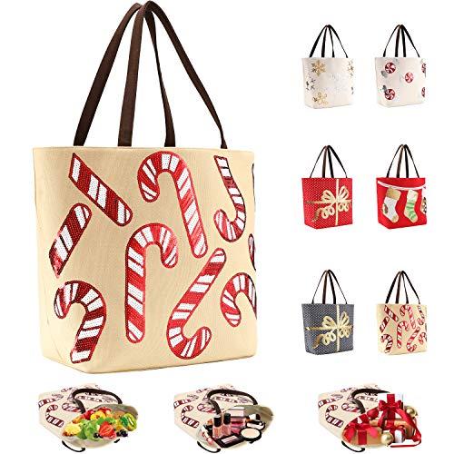 LessMo Weihnachten Tote Shopper Große Kapazität, Schultertasche Weiche Leinwand Lange Henkel, Canvas Tragetasche Einkaufstasche Handtasche mit Weihnachtsmuster für Arbeit Schule Uni Einkauf