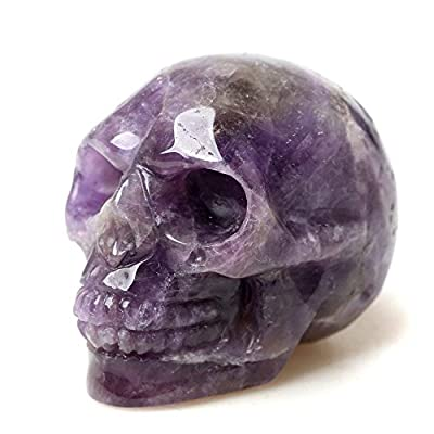 """JRT Natural Amethyst Carved Realistic Crystal Skull Sculpture Healing Energy Reiki Gemstone Collectible Figurine Crystal Healing Skull for Home Decoration 2"""""""