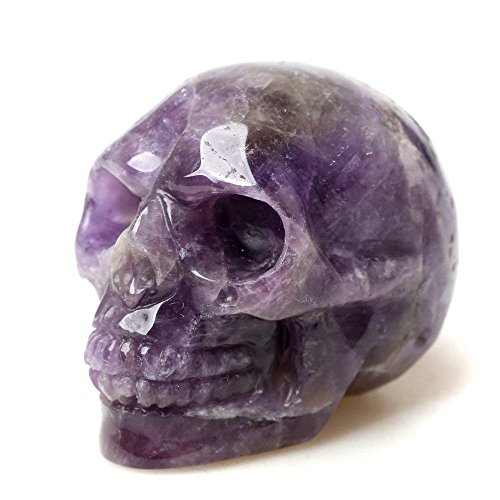 Natural Amethyst Carved Realistic Crystal Skull Sculpture Healing Energy Reiki Gemstone Collectible Figurine Crystal Healing Skull for Home Decoration 2'