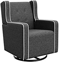 Graco Tufted Remi Upholstered Swivel Glider, Night Sky/White, One Size, Cleanable Upholstered Comfort Rocking Nursery Swivel Chair