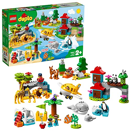 LEGO10907DuploAnimalesdelMundo,JuguetedeConstrucciónparaNiños+2añoscon15FigurasdeAnimalesy6MiniFiguras