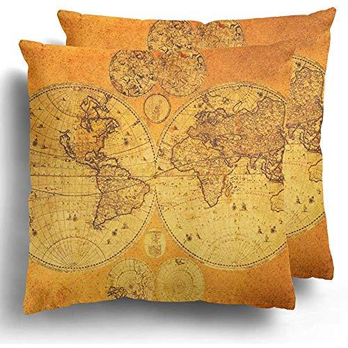 Sweet-Heart Fundas cojín Antiguo Mapa Viejo Mundo