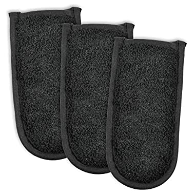DII Cotton Terry Pan Handle Sleeve, 6x3 Set of 3, Heat Resistant and Machine Washable Handle Cover for Kitchen Cooking and Baking-Black