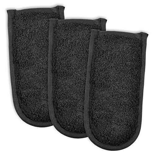 DII CAMZ34356 100% Cotton Terry Pan Handle Set Machine Washable, Heat Resistant, 6 x 3, Black, 3 Piece