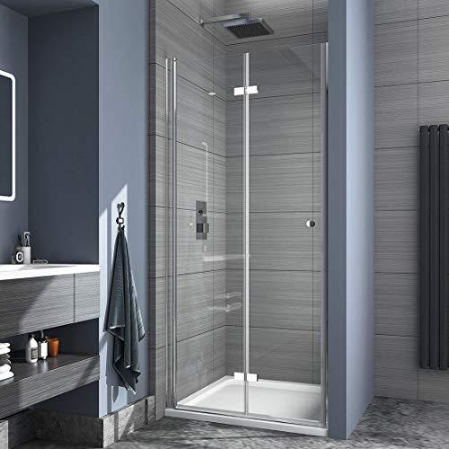 Safeni Duschtür Duschkabine, 80x185cm Duschwand Glas Duschabtrennung Nische mit Falttür Duschtrennwand Faltwand aus 6mm ESG Sicherheitsglas ohne Duschtasse