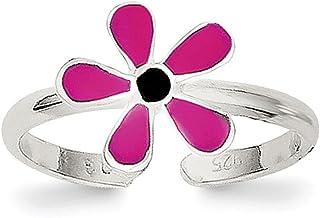 Lex & Lu Sterling Silver Pink Enameled Floral Toe Ring