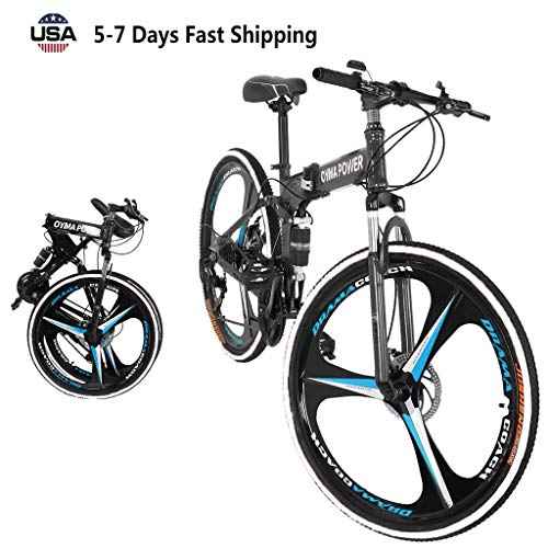 US Fast Shipment 21 Speed Folding Mountain Bike 26in, Adult Folding Bikes High Carbon Steel Three-Knife Wheel Bicycle Full Suspension MTB Bikes for Mens/Womens/Student (Black)