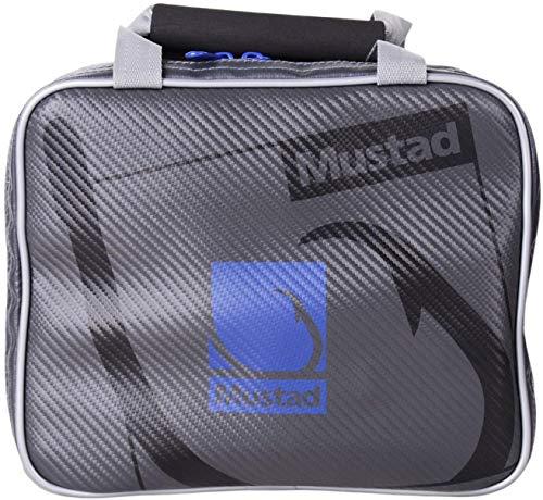 Mustad Rigger Bag, Water-Resistant 500-Denier Tarpaulin w/Water-Resistant Zippers, One-Handed Neoprene Handle, Grey/Blue, Single - 10 Inner Pockets