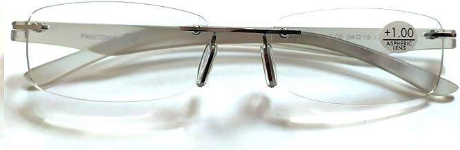LEMON TREE SL Gafas Lectura SIN Montura. Gafas Presbicia PANTONA, Gafas Vista Cansada, Cristal al Aire, clásicas y Ligeras, Colores Elegantes 6 Colores y 7 graduaciones. Montura Plateado (Gris)
