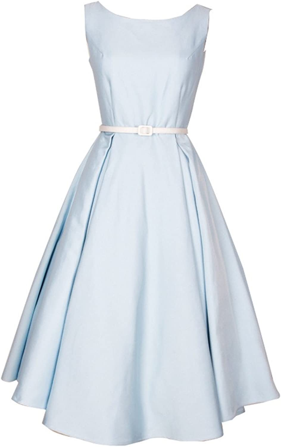QUEENOFHOLLOW 1950 Vintage bluee Polyester Cotton Party Women Dress