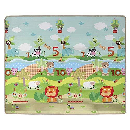 Krabbelmatte, Spielmatte mit Tier Doppelseitige Wasserdichte Kinderteppich Zusammenfaltbare Baby Gym, 200 * 180 * 1cm (Rosa)