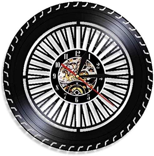 Nelbonls Rueda Reloj de Pared Coche Antiguo Reloj de Rueda Servicio de Coche Ventas reparación de Garaje Disco de Vinilo Logo Reloj de Pared Decorativo