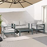 ORISTUS 4-PCS Outdoor Patio Furniture Set Interior Anti-Rust Aluminum loveseat Sofa Armchair Coffee Table,Couch with Cushion,Easy Clean Durable(Light Gray)