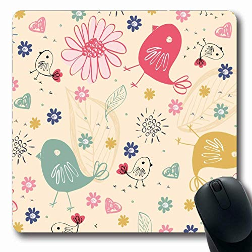 Luancrop Alfombrillas para computadoras Contorno Rosa Bebé Bebés Dulces Doodle Resumen Infancia Naturaleza Cuidado de Aves Diseño Infantil Antideslizante Oblong Gaming Mouse Pad