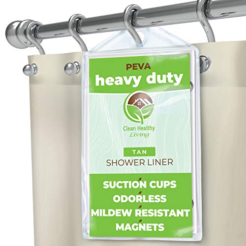 Heavy Duty PEVA Tan Shower Curtain Liner with Magnets & Suction Cups - 70 X 72 in. Long