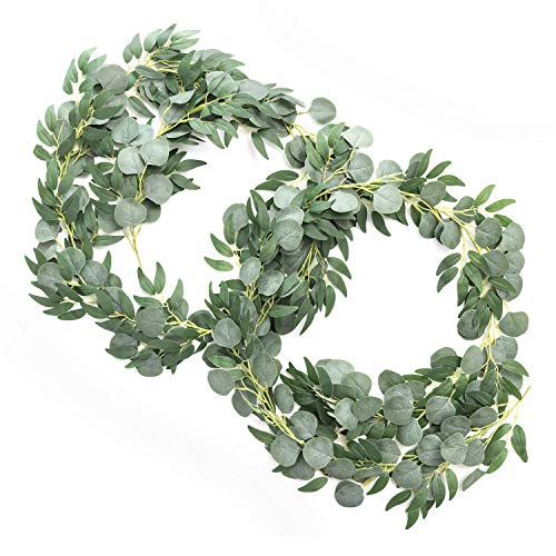 Ling's moment Artificial Eucalyptus and Willow Garlands, 2pcs Fake Vines Greenery Leaves for Wedding Backdrops/Arch/Flower Garland Greenery Decor