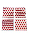 Country Apple Ceramic Tile Drink Coaster Set, Country Kitchen Apple Decor