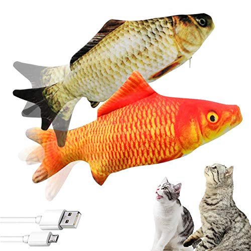 M MAIUS 2 Pack Electric Floping Fish Cat Toys, Wiggle Fish Catnip Toys, Moving Cat Kicker Fish Toy, Realistic Interactive Cat Chew Bite Kick Supplies for Cat Kitten Kitty