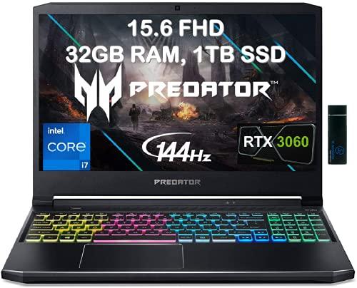 "2021 Acer Flagship Predator Helios 300 Gaming Laptop 15.6"" FHD 144 Hz 3ms IPS Intel Octa-Core i7-11800H 32GB RAM 1TB SSD GeForce RTX 3060 6GB RGB Backlit Thunderbolt WiFi6 Win10 with ES 128GB USB"