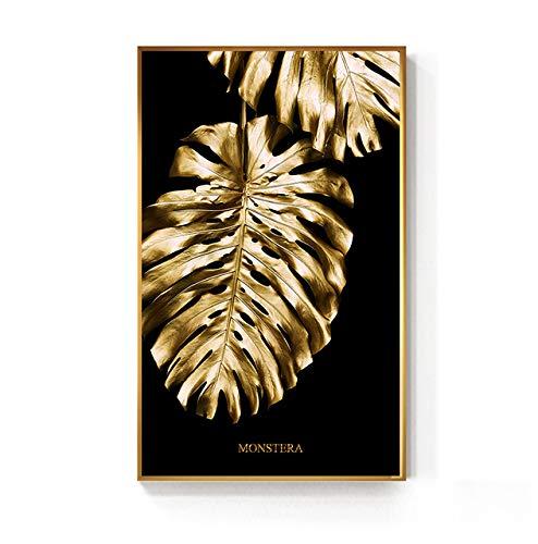 Scandinavisch schilderij print op canvas zwart en goud ananasplant blad modulaire afbeeldingen posters wall art decoratie thuis woonkamer 50 x 90 cm