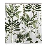 Redecor Green Tropical Palm Leaf Duschvorhang, Anti-Schimmel Polyester Stoff Wasserdicht Badvorhang mit 12 Haken, 152 x 180 cm