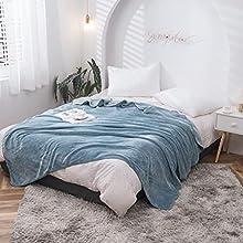 Mantas para Sofa Gris 180 × 200 cm, Mantas para Cama de Franela Reversible, Mantas Ligeras de 100% Microfibra - Fácil De Limpiar - Extra Suave Cálido (Azul Claro, 180_x_200_cm)