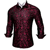 Barry.Wang Men Shirts,Paisley Flower Woven Silk Dress Shirt Long Sleeve Unique Design Formal/Leisure Wedding Party Prom Black Red