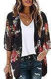 Women's Floral Kimono Cardigan Print Short Sleeve Shawl Chiffon Casual Summer Blouse Tops(Black M)