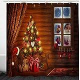 BROSHAN Weihnachts-Duschvorhang für Badezimmer, Weihnachtsbaum mit Ornamenten, Weihnachtsmann, Badezimmer-Vorhang, brauner Bauernhof, Urlaub, Stoff mit Haken, 72 x 72 cm