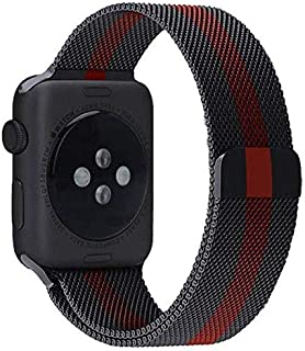 Milanese Loop Stainless Steel with Magnetic Clasp Bands for Apple Watch 38mm/40mm Black with Red Lining Pattern