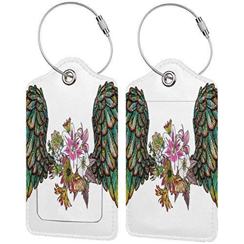 VORMOR Gepäckanhänger Kofferanhänger mit Adressschild,Weinlese-Orchideen-Blumenstrauß mit Federflügeln Exotischer Frühlingsschönheit-Dschungel-Muster,(2 Stück)