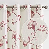 jinchan Linen Textured Curtains for Living Room Long Embroidered Design Window Curtains Privacy Flax Linen Look Window Treatment Set for Bedroom Grommet Top 2 Panels 84' Terrared on Beige