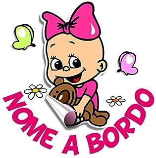 STICKEREDO Bimbo a bordo adesivo auto macchina personalizzato con nome bebè in macchina baby on board TUTTI I NOMI. Applic...