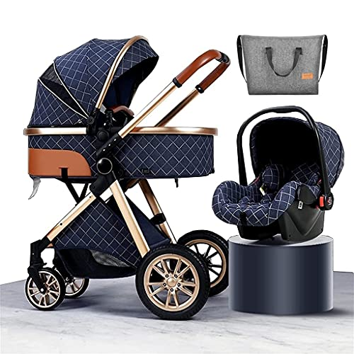 Prams and Pushchairs From Birth, 3 in 1 Baby Stroller Carriage Foldable Luxury Pushchair Stroller Shock Absorption Springs High View Pram Baby Stroller with Mommy Bag and Rain Cover ( Color : Blue )