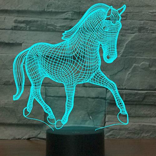 Jinson well Lámpara nocturna 3D con forma de caballo y luz nocturna óptica, ilusión de 7 cambios de color, interruptor táctil, mesa de escritorio, lámpara decorativa