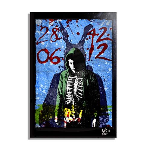 Donnie Darko y Frank el Conejo - Pintura Enmarcado Original, Imagen Pop-Art, Impresion Poster, Impresion en Lienzo, Cuadro, Comics, Cartel de la Pelicula