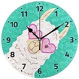 FETEAM Lindo Reloj de Pared de Llama con Pilas de Dibujos Animados Reloj de Alpaca Cocina Dormitorio decoración del hogar decoración