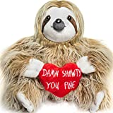 Light Autumn Valentines Day Stuffed Animals - Girlfriend Gifts - Shawty You Fine - Valentine Sloth Bear for Her - Cute Funny Vday Gifts for Boyfriend