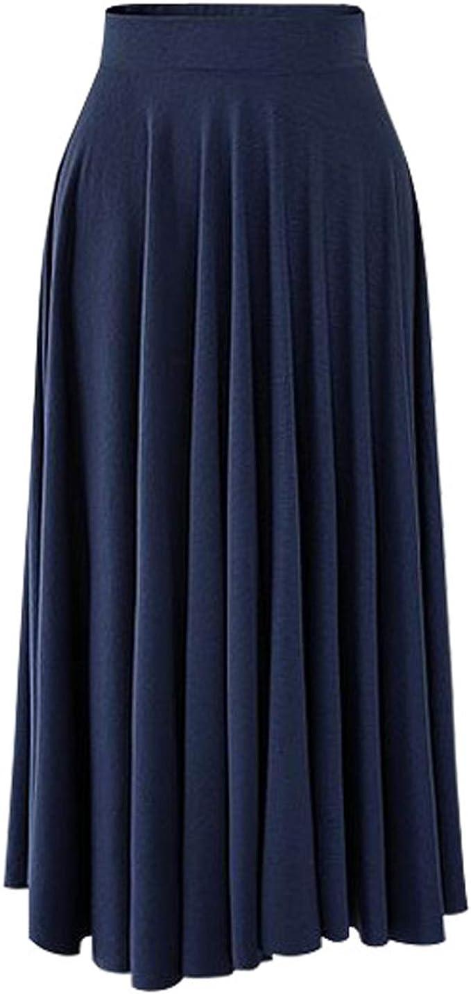 Itemnew Women's Casual Elastic Waist Modal Cotton Pleated Flowy Flared Long Beach Skirt