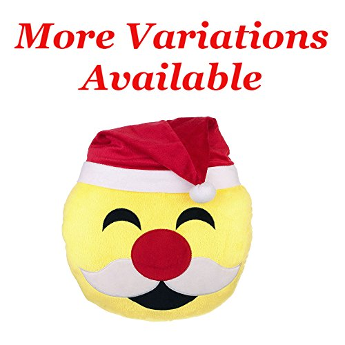 """Santa Clause Emoji Christmas Pillow 12""""   Laugh Cry Face Expression Emoticon   Stuffed Plush Round Cushion for Christmas Gifts, Home Decorations & Decorative Couch Throw Pillow"""