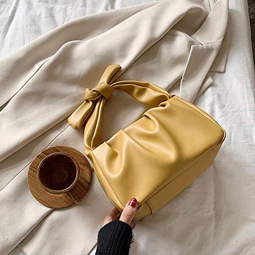 PANZZ Poignée Bandoulière Sacs Femmes Couleur Unie Épaule Sacs À Main Femme Voyage Totes, Jaune, 21 cm x 14 cm x 11 cm